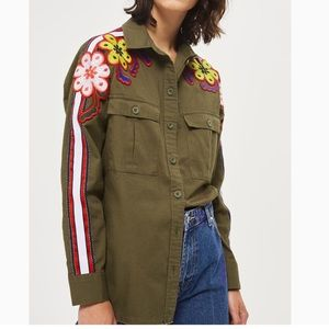 TOPSHOP floral embroidered military top us sz 6